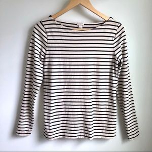 J Crew navy striped boatneck long sleeve top sz xs